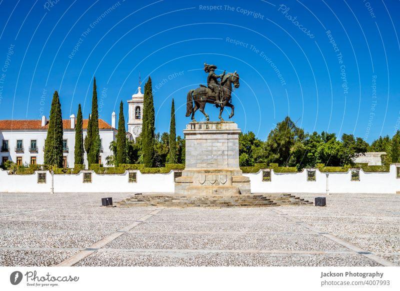 Monument of John IV in front of Ducal Palace of Vila Vicosa, Portugal vila viçosa john the forth statue art monument john iv alentejo architecture braganca