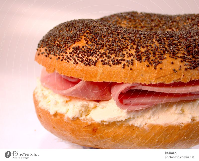 Nutrition Roll Breakfast Meal Cheese Ham Bagel Cream cheese
