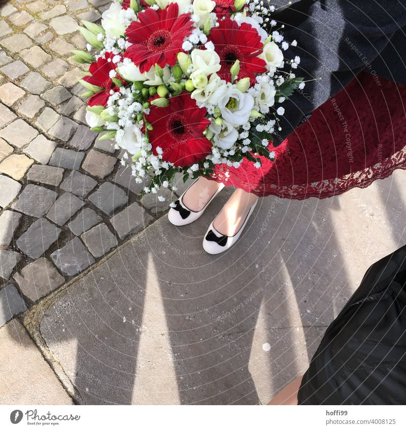 red and white flowers on the wedding day red flower Blossom Feasts & Celebrations Bird's-eye view Decoration Wedding Bouquet Flower Wedding there Plant