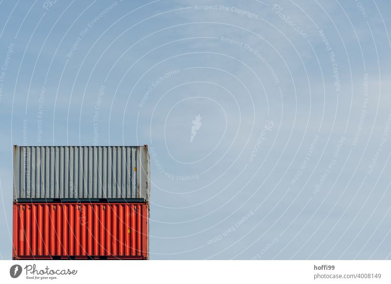Container in red and grey on top of each other Red Gray Container terminal Container cargo red container Minimalistic Container ship Harbour logistics Crane
