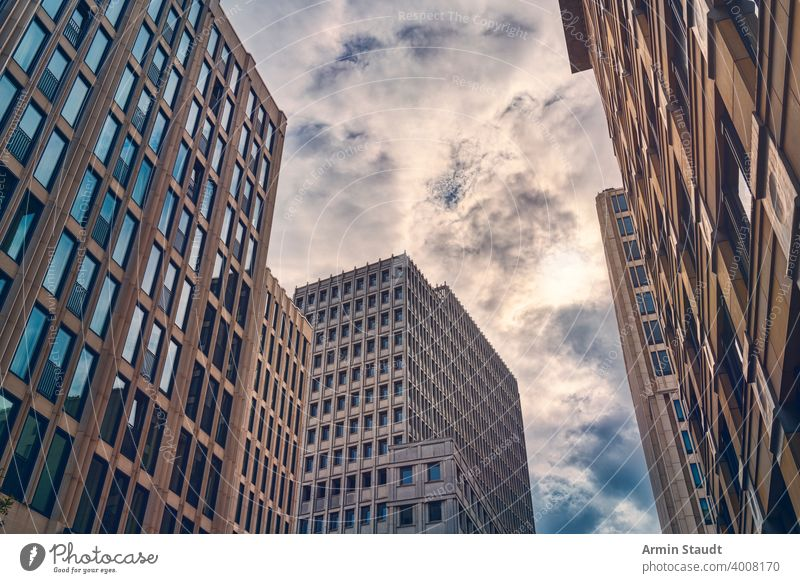 Berlin skyscrapers in the evening with cloudscape architecture background building business business district city cityscape downtown estate exterior facade