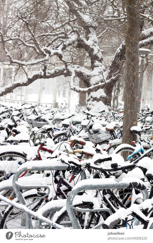 Bicycle parking in the snow Snow bicycles Bicycle rack Winter buckle standstill snowed in chill Frost turned off Parking lot