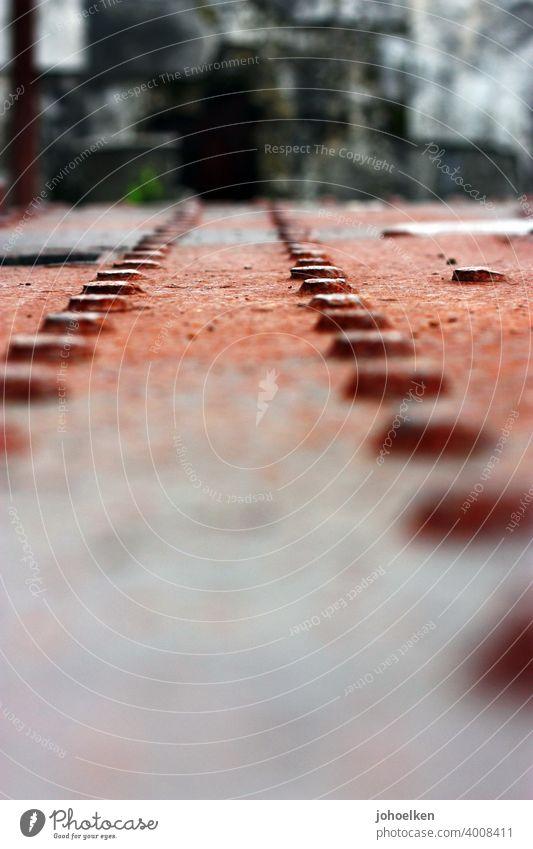 Rivets on rusty steel Stud Steel Rust Row Orange Decline Ruin Firm interconnected rectilineal Metal metal piece Derelict Industrial plant Unkempt corroded