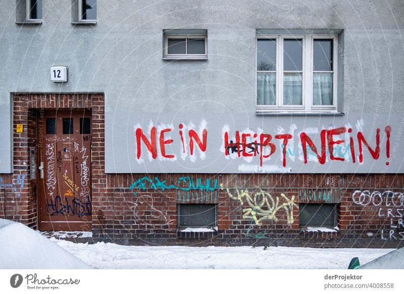 No means no - Graffito off house wall Soul Wisdom saying Illustration Graffiti Shadow Contrast Deep depth of field Copy Space bottom Copy Space top Day Light