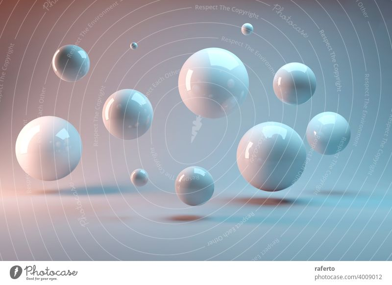 Suspended balls on a white background. 3D image rendering. sphere element class future group link social society three-dimensional cyberspace flying graphic