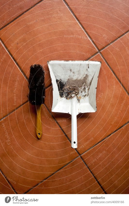 Hand brush and dustpan hand brush sweeper dirt filth Dust clean neat polish Tidy up purge Spring cleaning Household Housewife Househusband tiles Ground