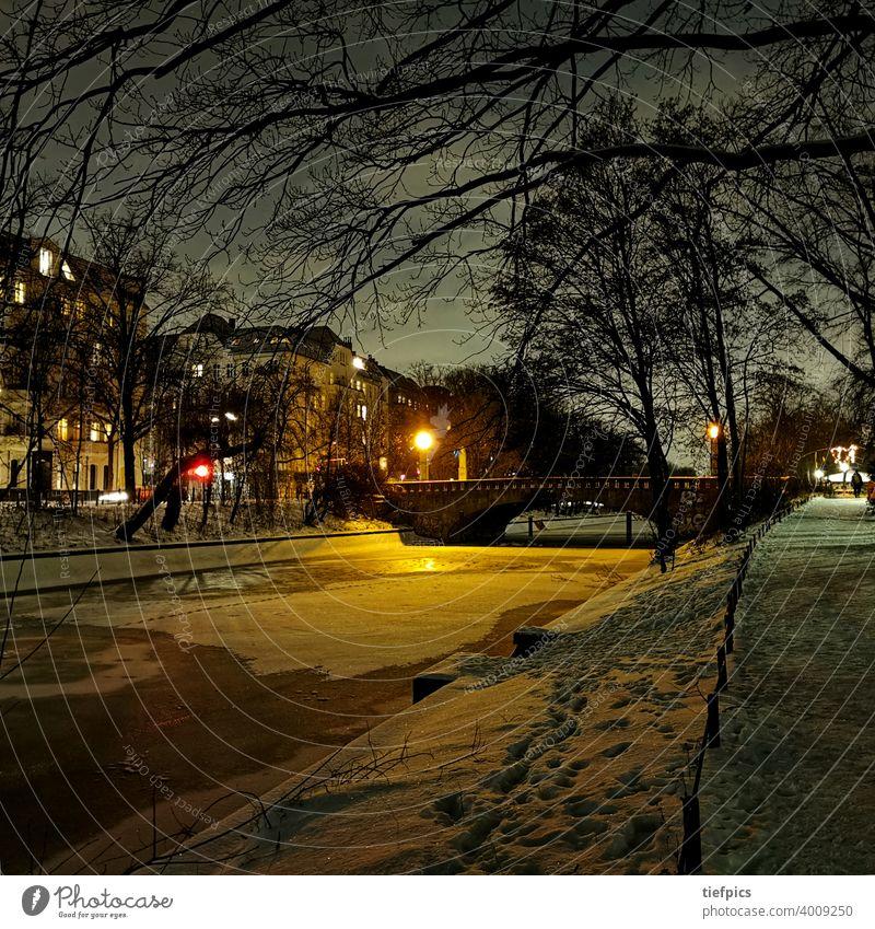 Berlin Landwehrkanal in winter Thielenbrücke Winter Bridge Night Snow Night shot Ice Kreuzberg Neukölln Loneliness silent Lure of the big city lockdown