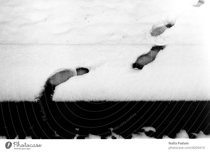 Footprints in the snow Analog Analogue photo Black & white photo black-and-white trace Snow White footprint Winter abyss End Wall (barrier) step Cold