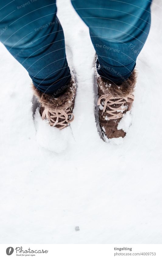 Hiking Boots In The Snow Hiking boots jeans Blue Brown Winter explore Discover Adventure a lot White winter tourism submerged more than usual Nature Deep lined