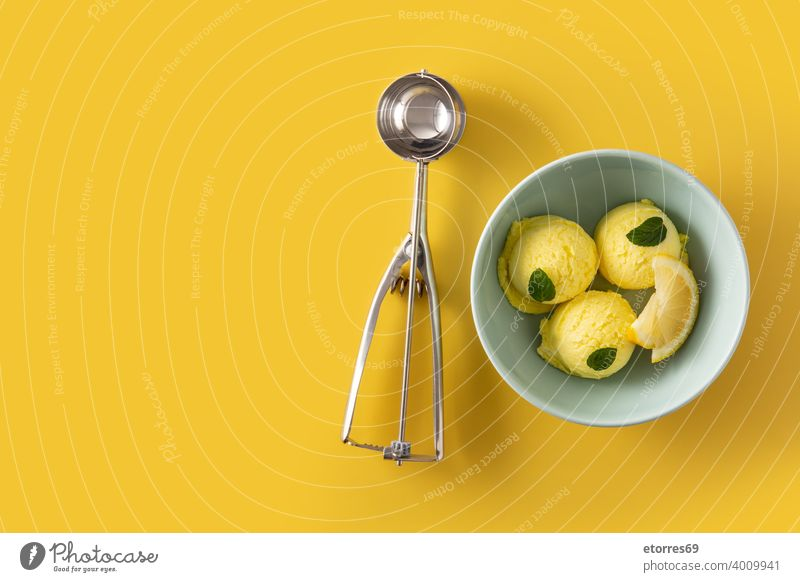 Lemon ice cream scoop decorated with mint leaves in bowl blue cold creamy dairy delicious dessert food freeze iced isolated lemon refreshment snack summer sweet
