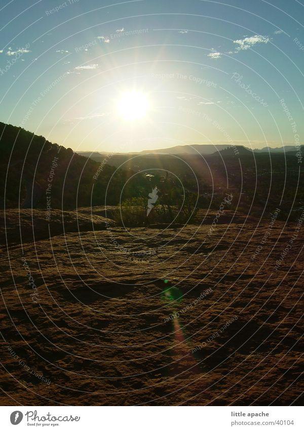 Sky Sun Clouds Mountain Stone Rock USA Level Desert Dusk Arizona Stone slab