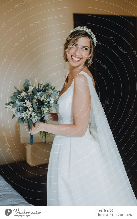 Portrait of the bride with a bouquet on her wedding day marriage engagement people young attractive copy space dress love woman fine elegance caucasian person