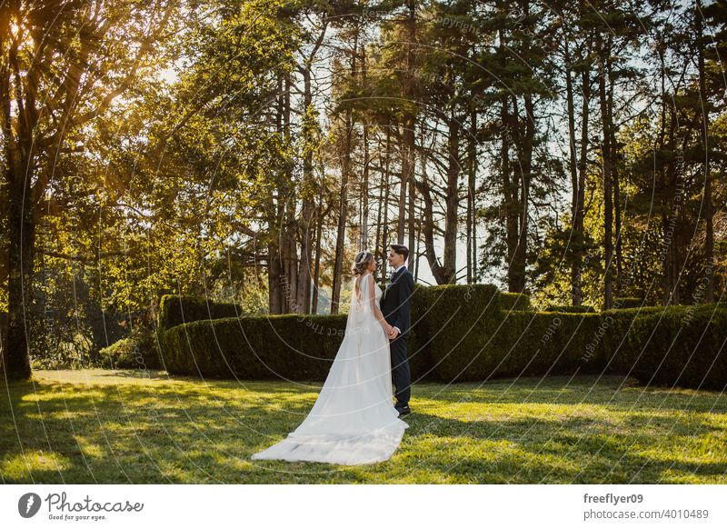 Young couple looking at each other on their wedding day marriage engagement bride people young attractive copy space groom tree nature exterior sunlight summer