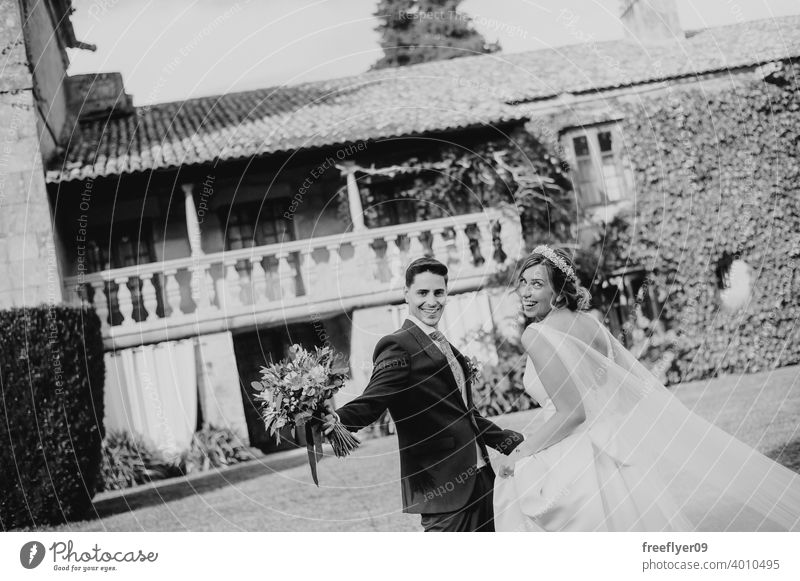 Young couple on their wedding day marriage engagement bride people young attractive copy space smiling pazo galicia ancient castle nigran spain a touza groom