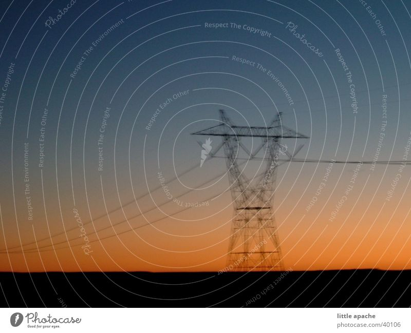 the skid Sunset Telegraph pole Blur Arizona Electricity Electricity pylon Framework Electrical equipment Technology USA Transmission lines Sky