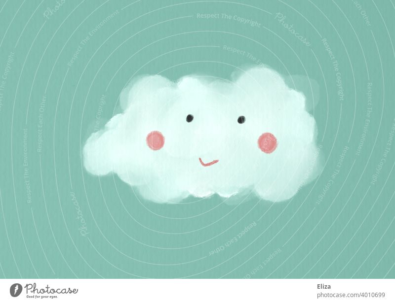 Illustration: Cloud with cute smiling face on turquoise background cloud Face illustration Cute Sky White Blue smilingly kind Painted Drawing Turquoise dreams
