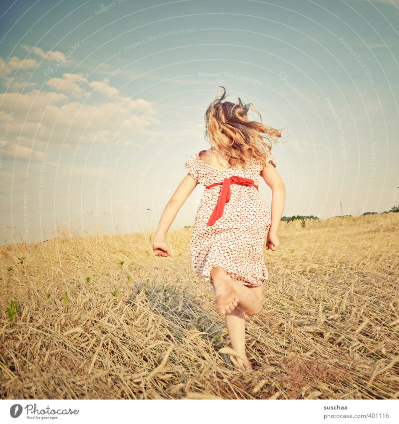 Human being Child Sky Nature Summer Girl Landscape Environment Warmth Feminine Hair and hairstyles Head Legs Bright Feet Horizon