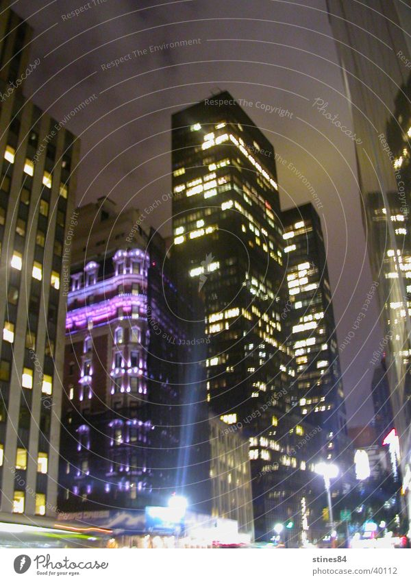 City Lighting High-rise Illuminate New York City Night shot Urban canyon City light