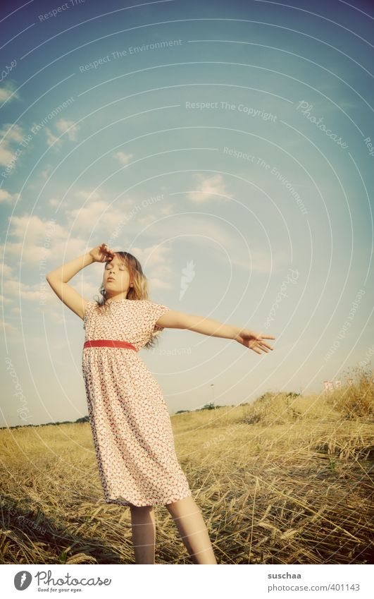 Human being Child Sky Nature Summer Hand Girl Joy Face Environment Warmth Feminine Hair and hairstyles Head Legs Body