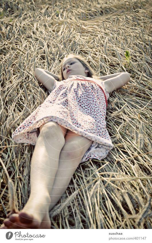 girl (in straw) Feminine Child Girl Infancy Body Face Arm Legs Feet 8 - 13 years Summer Climate Beautiful weather Field Lie Calm Relaxation Break Restful