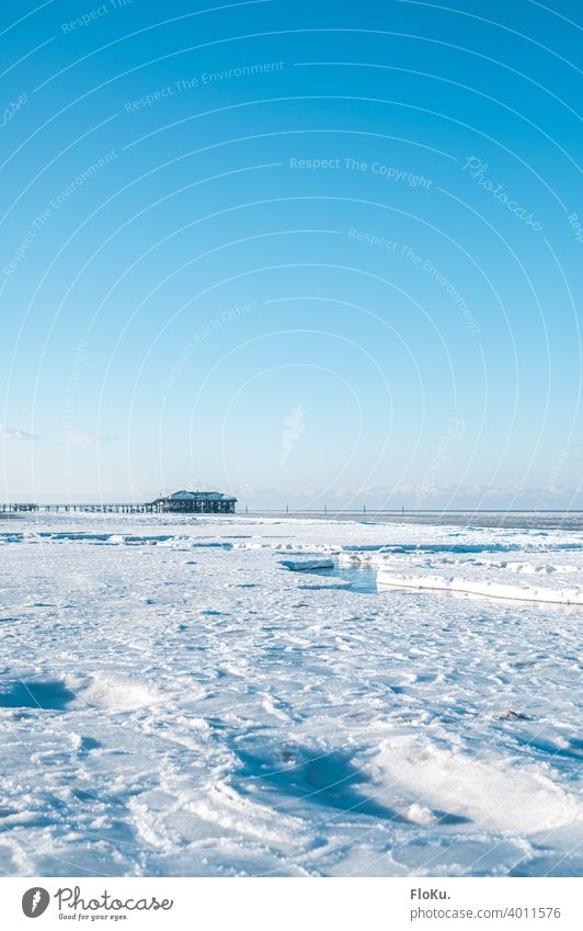 Winter with lots of ice in Sankt Peter-Ording Beach North Sea coast Ocean Loneliness Sun Waves Sand Water Cold Sky Blue Low tide Far-off places Horizon