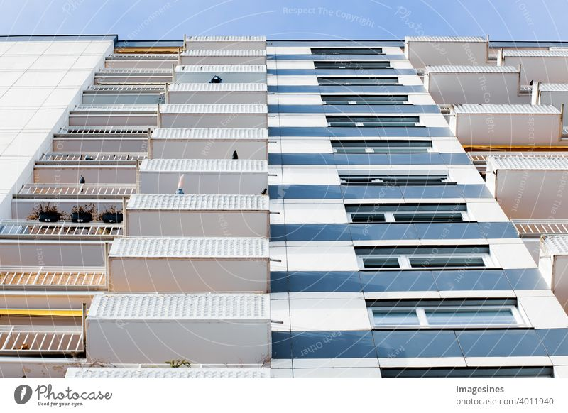 Facade of high-rise city apartments. Municipal apartment complex. multi-storey residential building. Apartment building, old architecture, residential building. Germany, Mainz, Rhineland-Palatinate