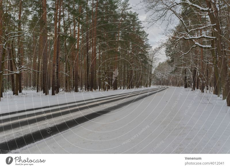 Germany , Land Brandenburg , February 10, 2021 , Teltow Fläming County,Gottower Chaussee K7222 between the town of Luckenwalde and the village of Gottow,Country road in winter with snow