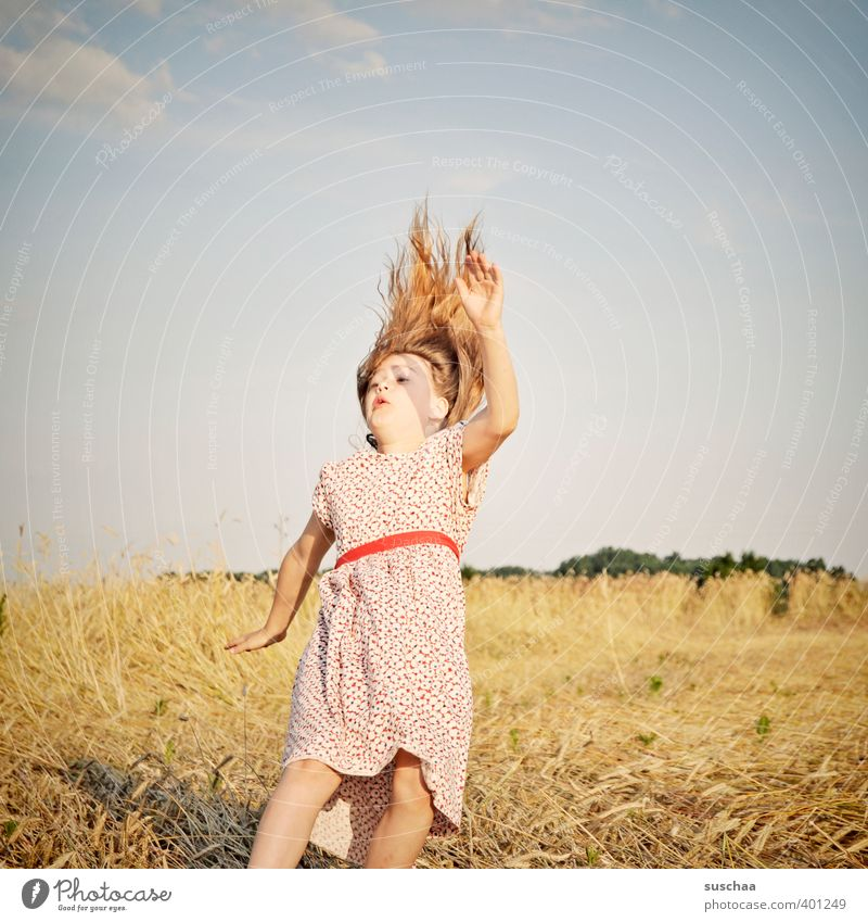 be doomed to summer Child Girl Exterior shot Summer Dress Hair and hairstyles To fall Jump Euphoria Joy Infancy Sudden fall Retro Whimsical Movement