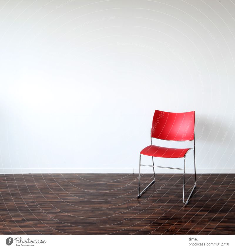 Seated area (19) Chair Red Wall (building) cast floor Laminate Room Empty