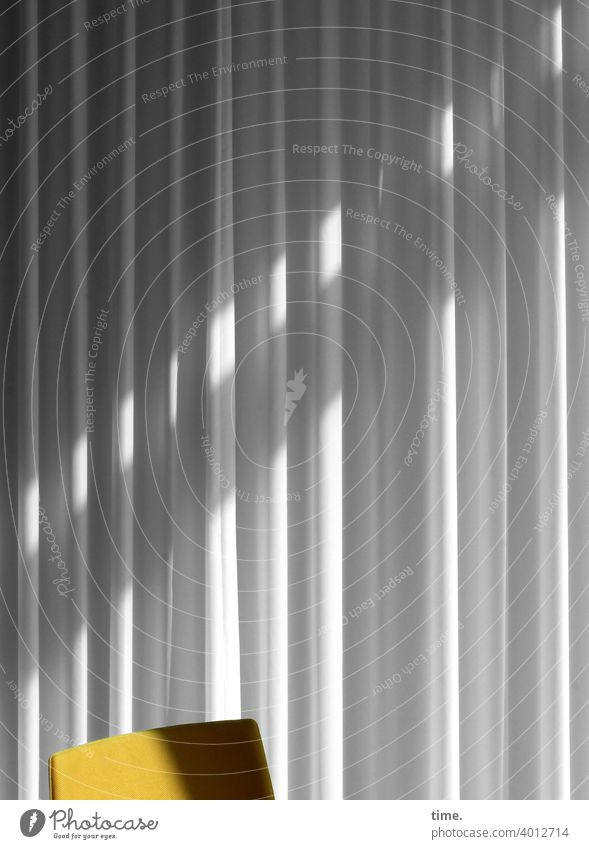 Seated area (17) Chair Curtain Stripe Sunlight Shadow Deserted Structures and shapes Pattern Interior shot Colour photo Time Moody Services Boredom Concentrate