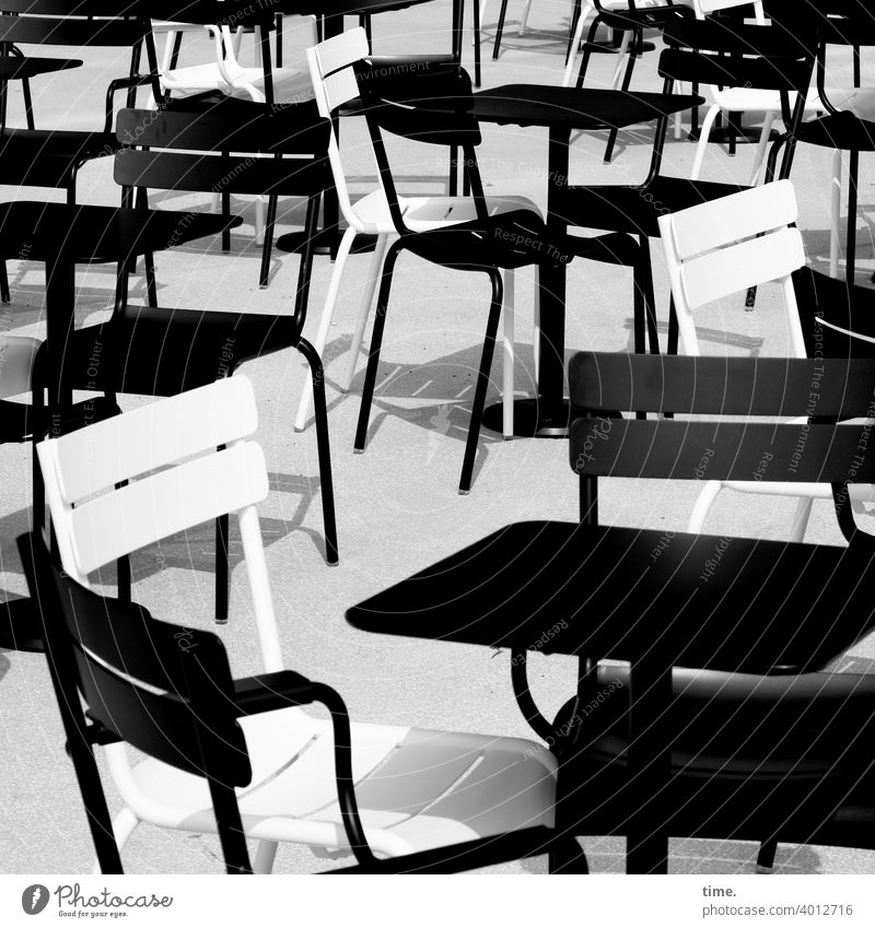 Seated area (11) Chair chairs out sunny Shadow Table Gastronomy B/W black-and-white Stand Muddled Whimsical quaint at the same time Café Empty Lonely