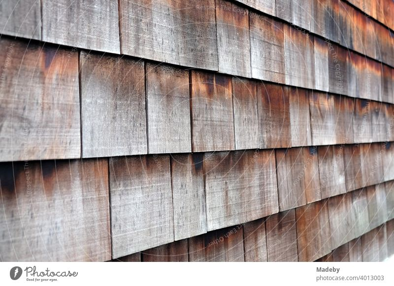 Rectangular shingles with patina on the façade of an old residential house in autumn in Wettenberg Krofdorf-Gleiberg near Gießen in Hesse Facade