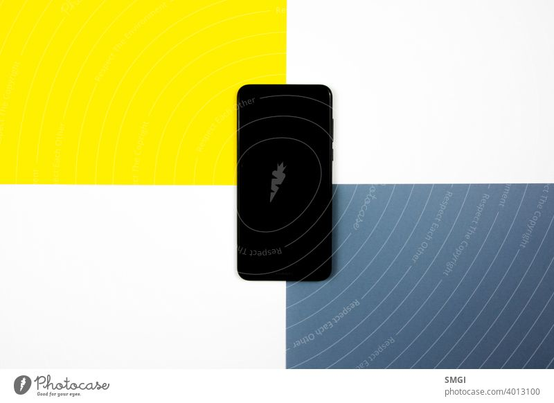 Mock up of a smartphone on different colored backgrounds. blank business cellphone cellular communication connection copy cyberspace desktop display electronic