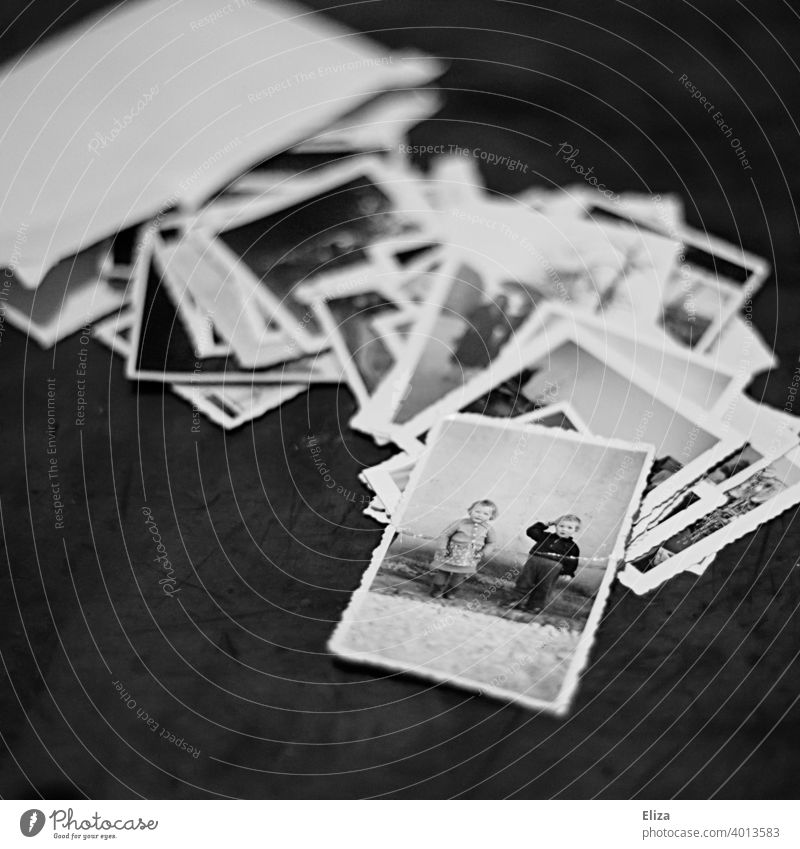 Old photos in black and white Photos remembrances Family photos Envelope Black & white photo infants children nostalgically Analog Photography Nostalgia Retro