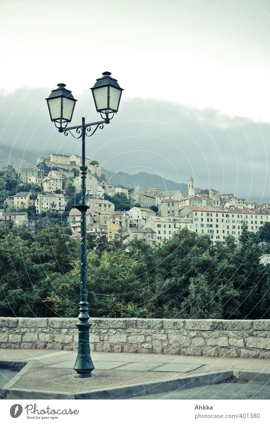 Streetlight of a mountain village in Corsica Elegant Style Design Environment Landscape Sky Mountain Village Downtown Outskirts Old town Deserted