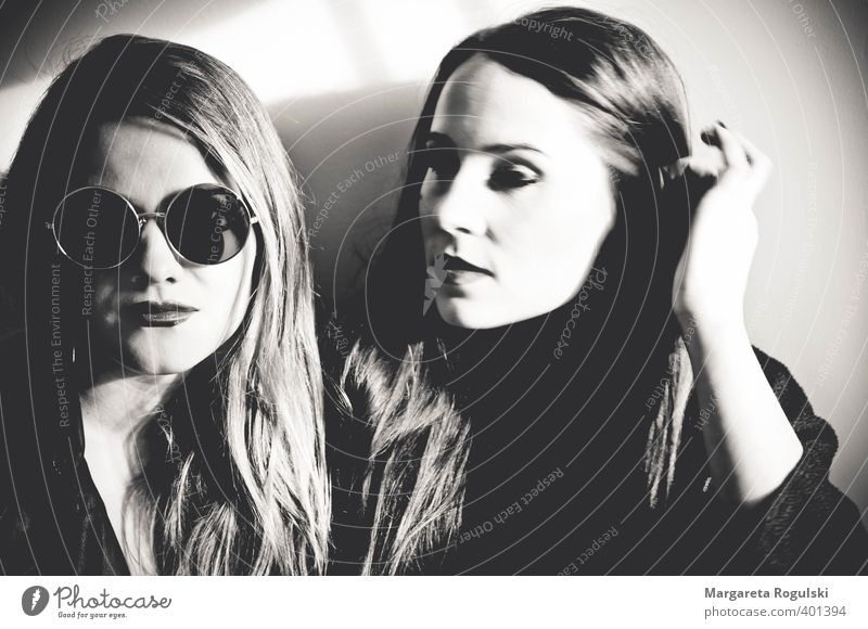 girls Black & white photo Contrast two women Young woman Sunglasses Long-haired