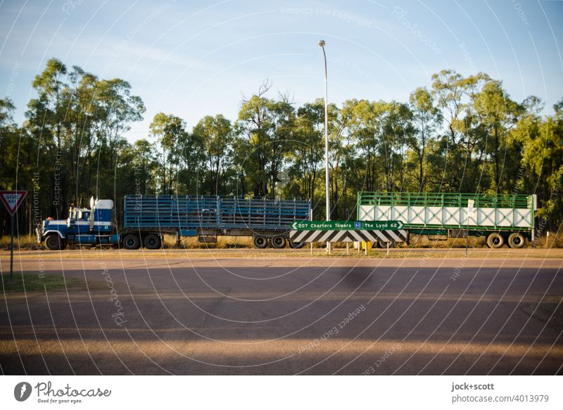this is the way of trucking Logistics Truck Means of transport Trailer Australia Break Transportation vehicle trailer Queensland Dawn Road marking