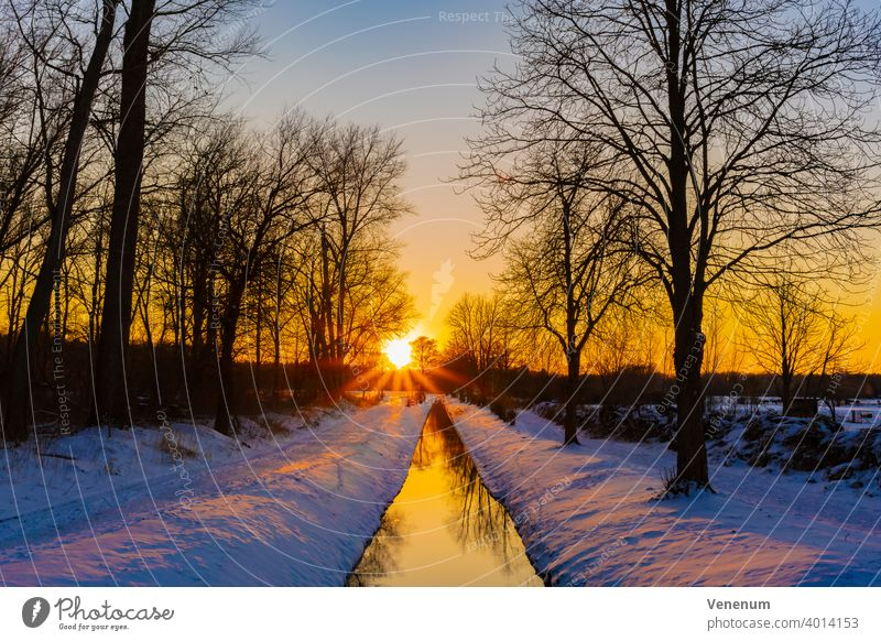 Sunset over the small river Koenigsgraben in Luckenwalde on February 12, 2021 no Cloud no Clouds Nature Sky Evening Color Tree Trees phenomenology landscape