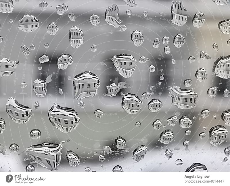 raindrop Rain raindrops Drops on the window Reflection in the drop Drops of water Macro (Extreme close-up) Close-up Wet Water Damp