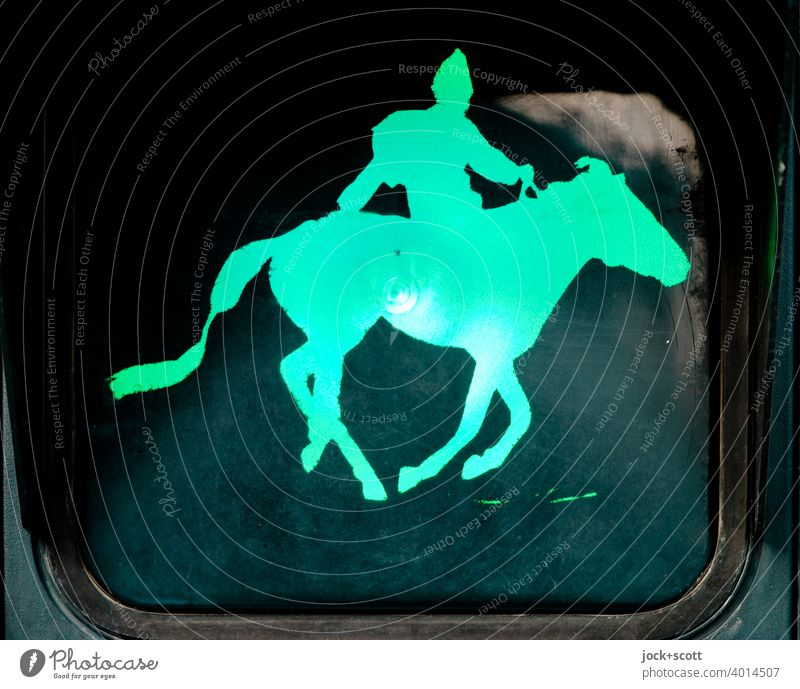 Mongolian rides into everyday life while green Silhouette Artificial light Pictogram Comic Traffic light Pedestrian traffic light Design signal colour Road sign
