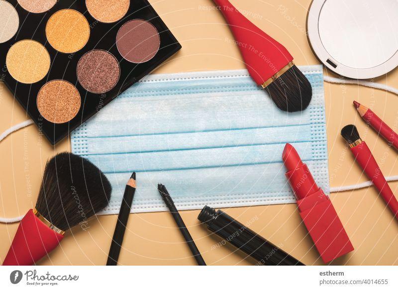 Beauty Salon and Beauty Blogger Concept coronavirus female cosmetics protective surgical mask coronavirus masks 2019-ncov covid 19 epidemic pandemic quarantine