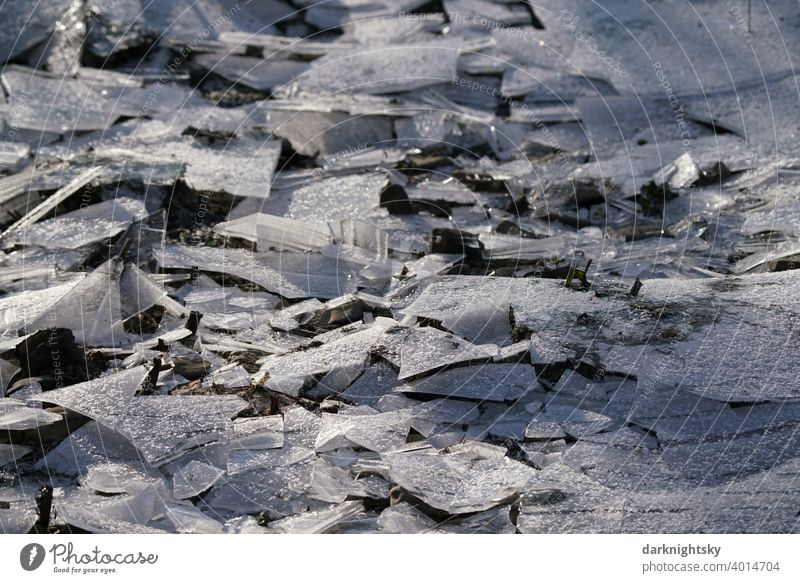 Ice time from broken plates with frost slabs Frost chill Snow Hoar frost White Freeze Nature Frozen Winter Cold Ice crystal Deserted Crystal structure