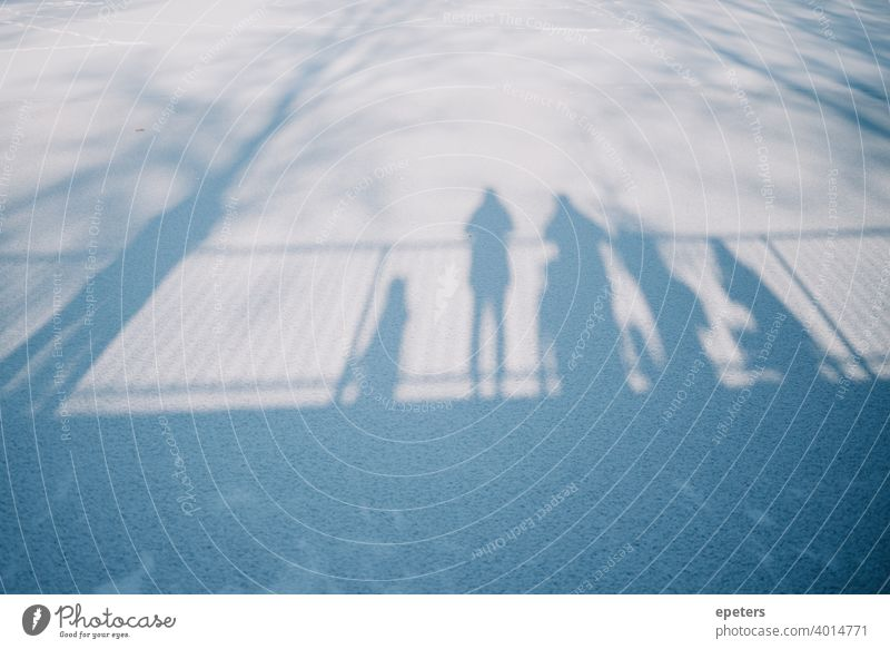 Shadows of several people standing on a bridge looking at a frozen lake Steilshoop Blue Exterior shot Colour photo Town Day Gloomy Hamburg Lake Frozen