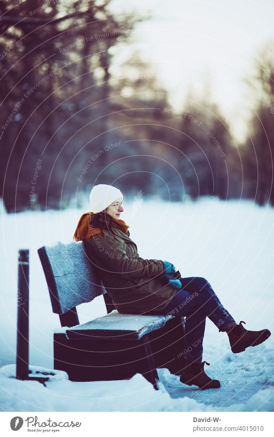 winter and snow - woman sitting on a bench in cold weather Winter Snow onset of winter Bench Sit Woman Weather pretty To enjoy Winter's day Winter mood Cold