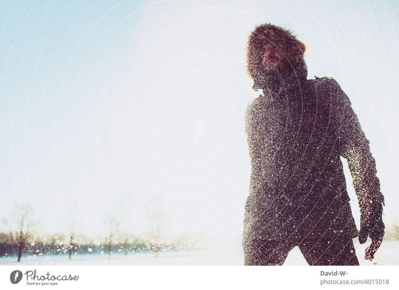 Winter 2021 - Man in the snow Snow Snowfall Sunlight winter snowflakes Cold snow flurries