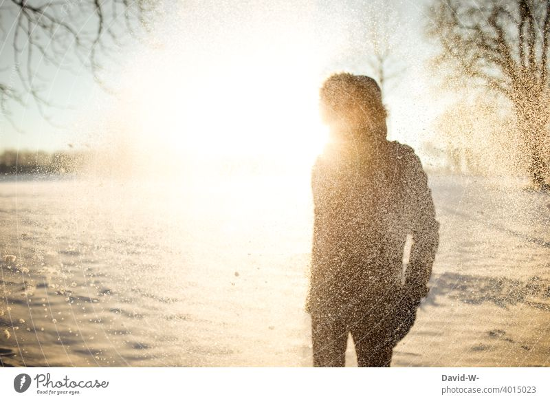 Man in the snow in the light of the sun Winter Sunbeam Snow Winter morning Winter mood Cold Beauty & Beauty Nature onset of winter Snowfall Winter's day