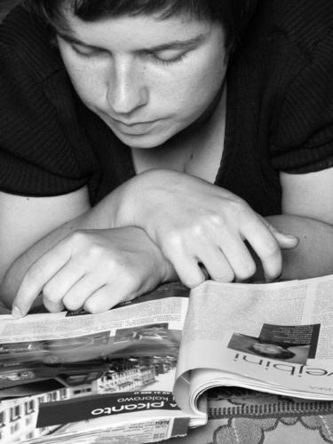 Woman Book Newspaper