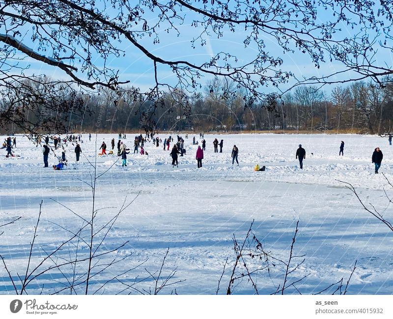 Ice skating ice skating Ice-skating Nature Lake Winter people Snow Cold Frost Frozen Freeze White Landscape Outdoors Exterior shot frozen lake Frozen surface