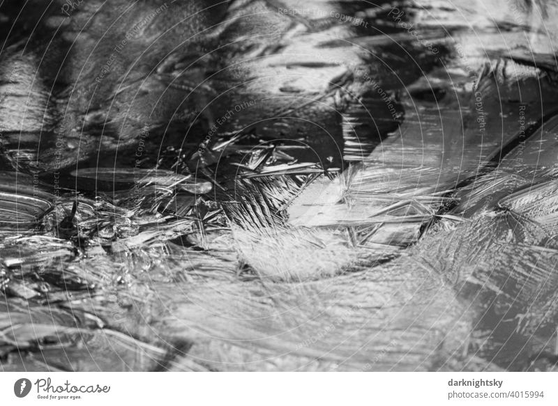 Ice surface with crystallized water and reflection of light from the natural environment. slabs Frost chill Snow Hoar frost White Freeze Nature Frozen Winter