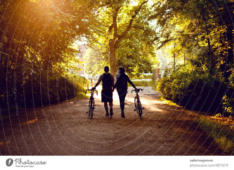 into the sunset Joy Happy Healthy Leisure and hobbies Cycling Human being Friendship Couple Adults Life Nature Landscape Sports Dream Contentment